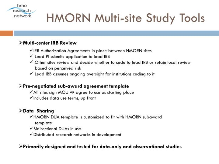 HMORN Multi-site Study Tools