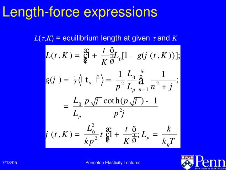Length-force expressions