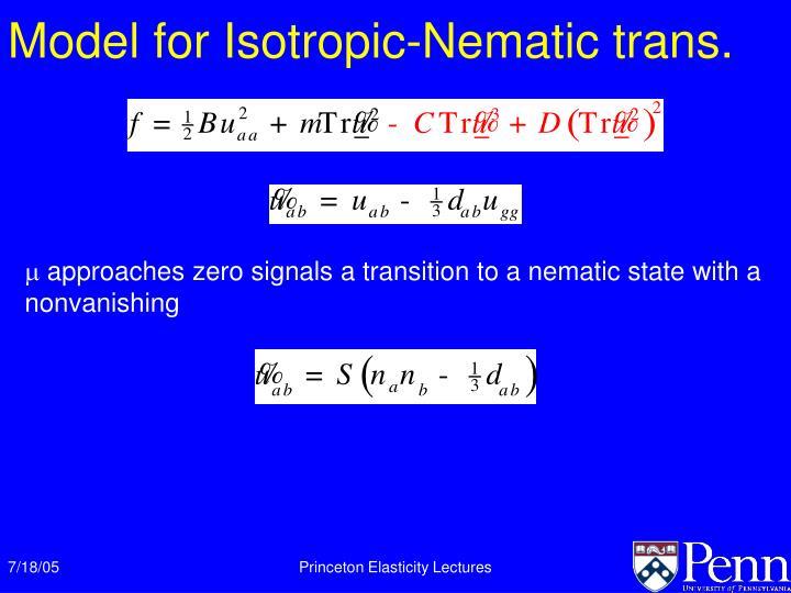 Model for Isotropic-Nematic trans.