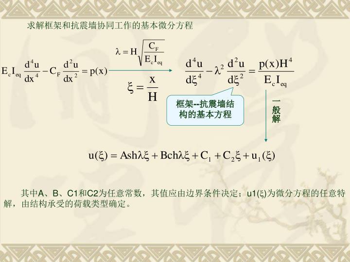 求解框架和抗震墙协同工作的基本微分方程