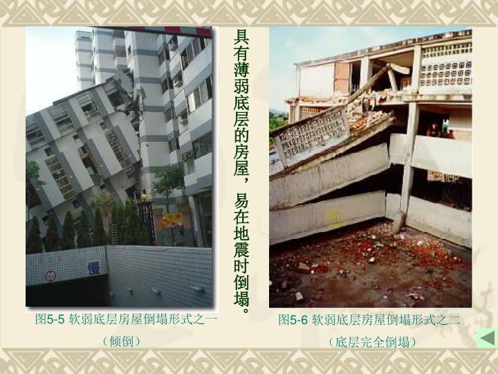 具有薄弱底层的房屋,易在地震时倒塌。