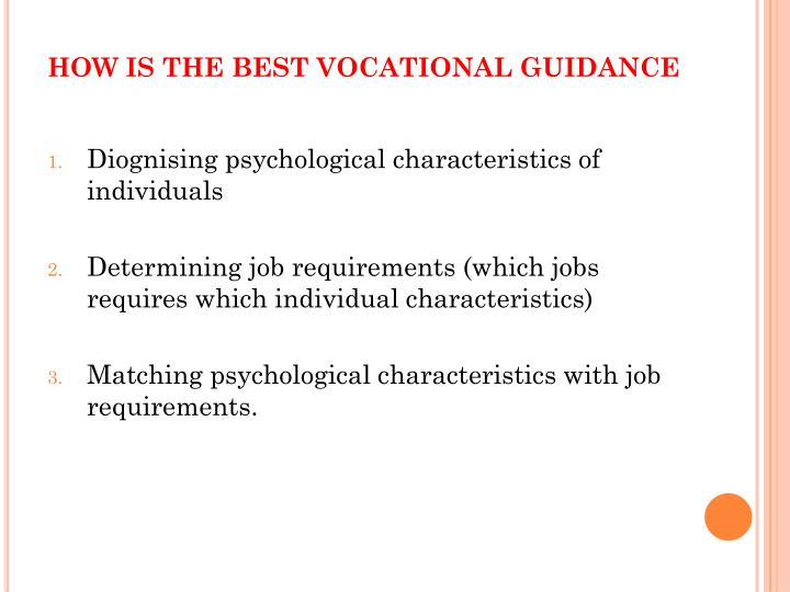 HOW IS THE BEST VOCATIONAL GUIDANCE
