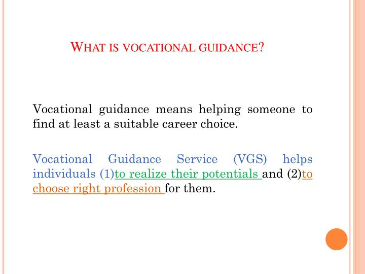 What is vocational guidance