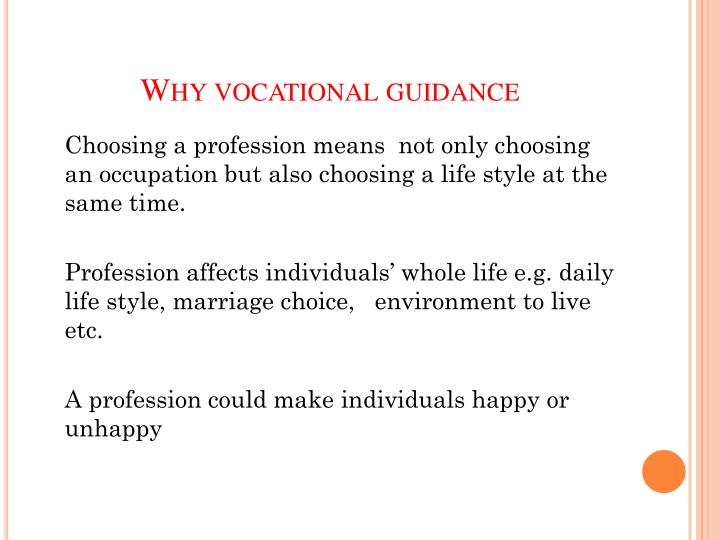 Why vocational guidance