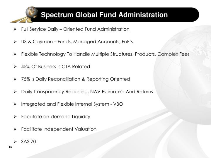 Spectrum Global Fund Administration