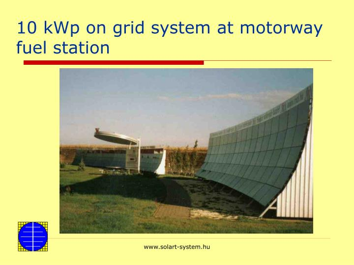 10 kWp on grid system at motorway fuel station