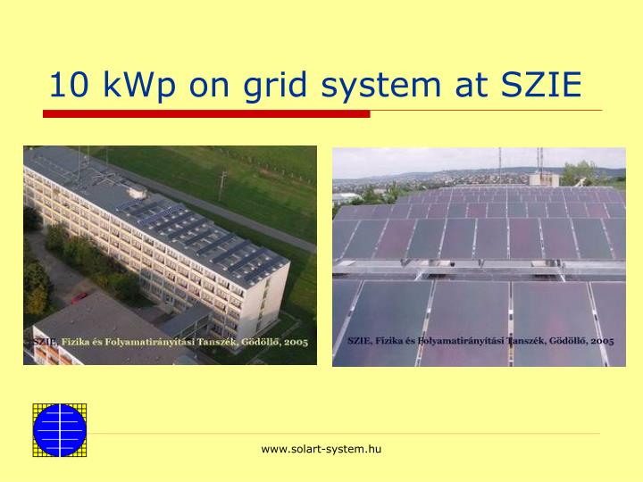 10 kWp on grid system at SZIE