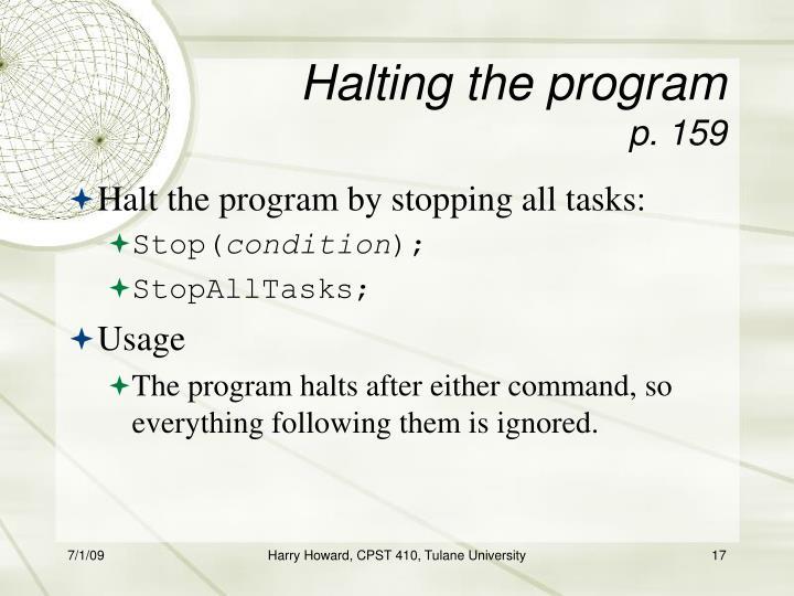 Halting the program
