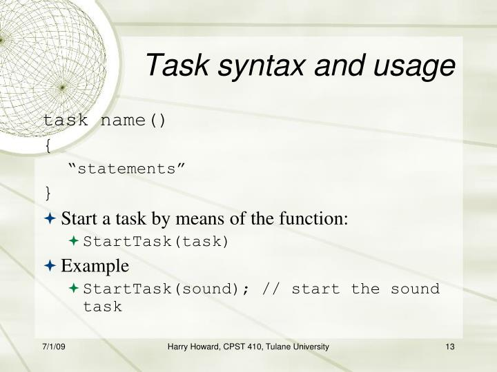 Task syntax and usage