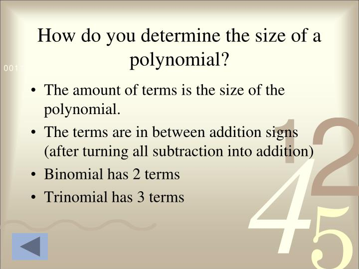 How do you determine the size of a polynomial?