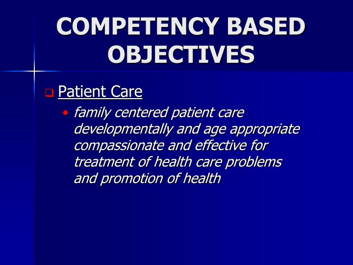 COMPETENCY BASED OBJECTIVES