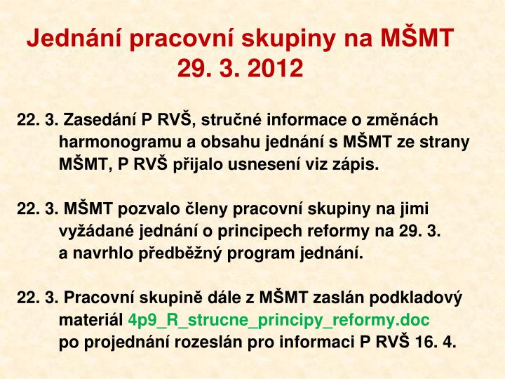 Jednání pracovní skupiny na MŠMT