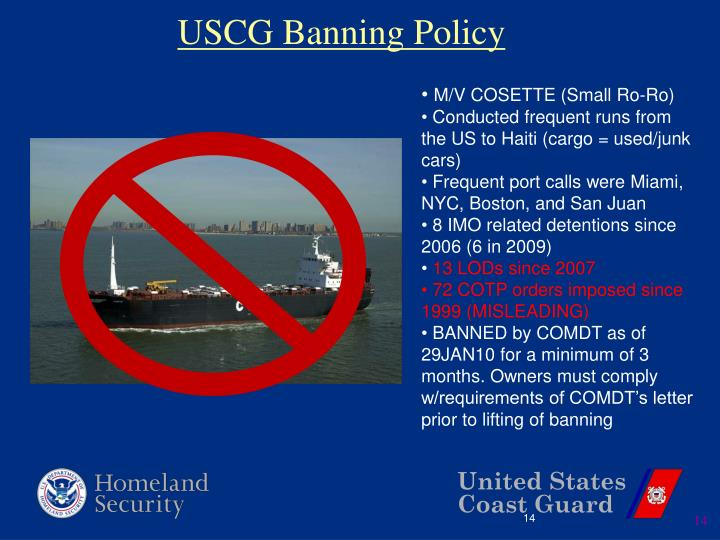 USCG Banning Policy