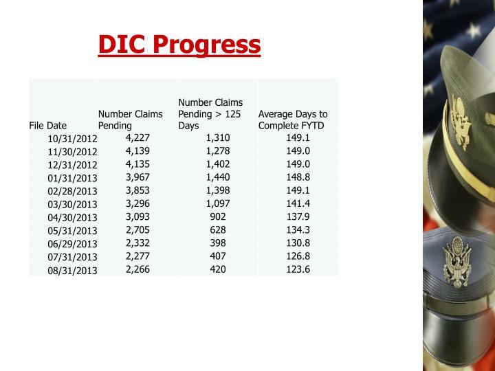 DIC Progress