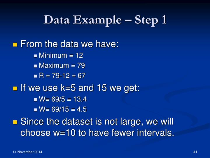 Data Example – Step 1