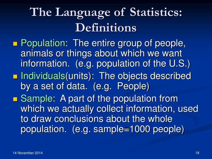 The Language of Statistics: