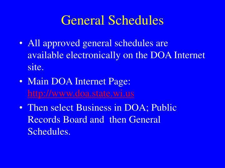 General Schedules