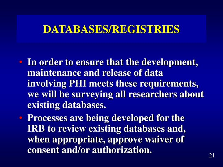 DATABASES/REGISTRIES