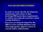 databases registries1