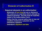 elements of authorization ii