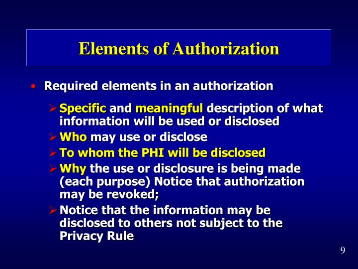 Elements of Authorization