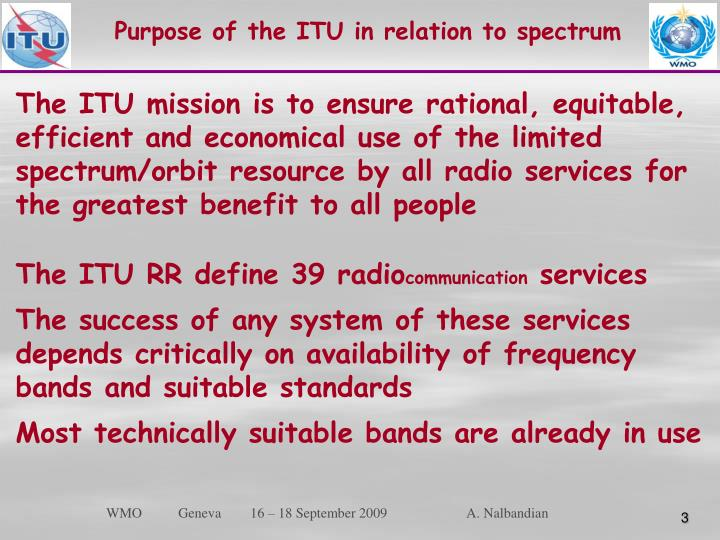 Purpose of the ITU in relation to spectrum
