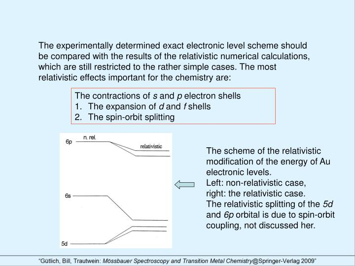 The experimentally determined exact electronic level scheme should be compared with the results of the relativistic numerical calculations, which are still restricted to the rather simple cases. The most relativistic effects important for the chemistry are: