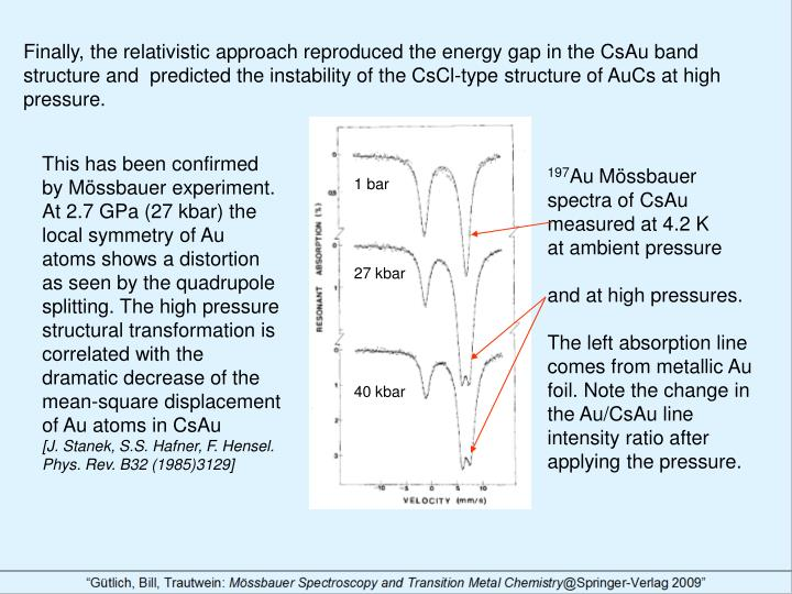 Finally, the relativistic approach reproduced the energy gap in the CsAu band structure and