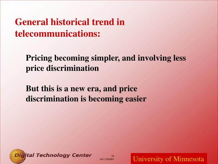 General historical trend in telecommunications: