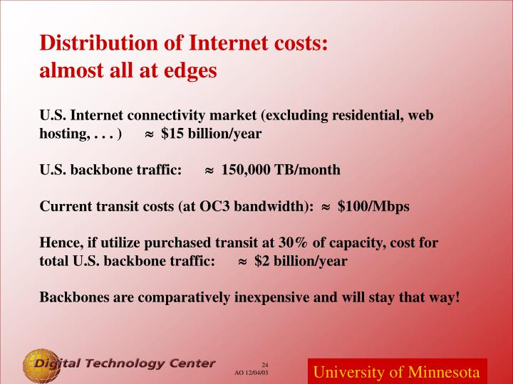 Distribution of Internet costs:
