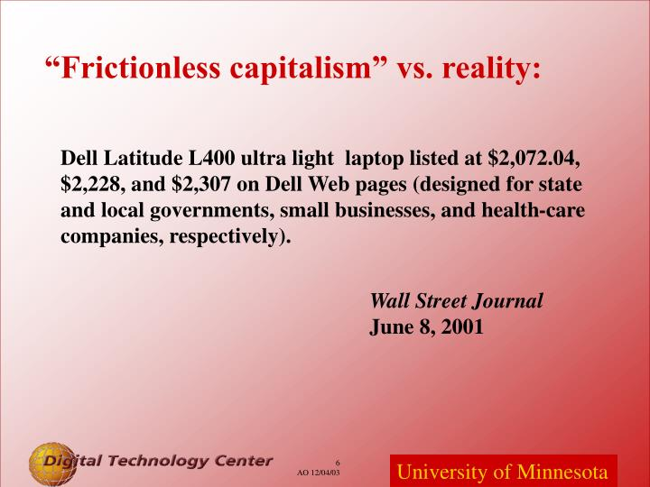"""Frictionless capitalism"" vs. reality:"