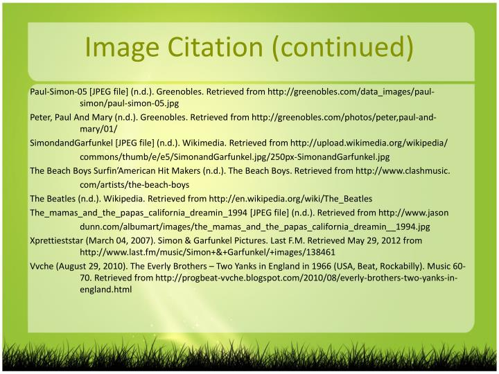 Image Citation (continued)