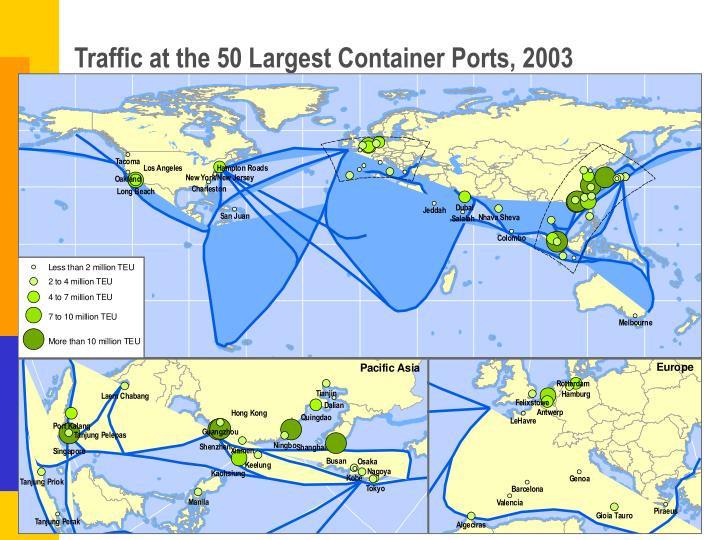 Traffic at the 50 Largest Container Ports, 2003