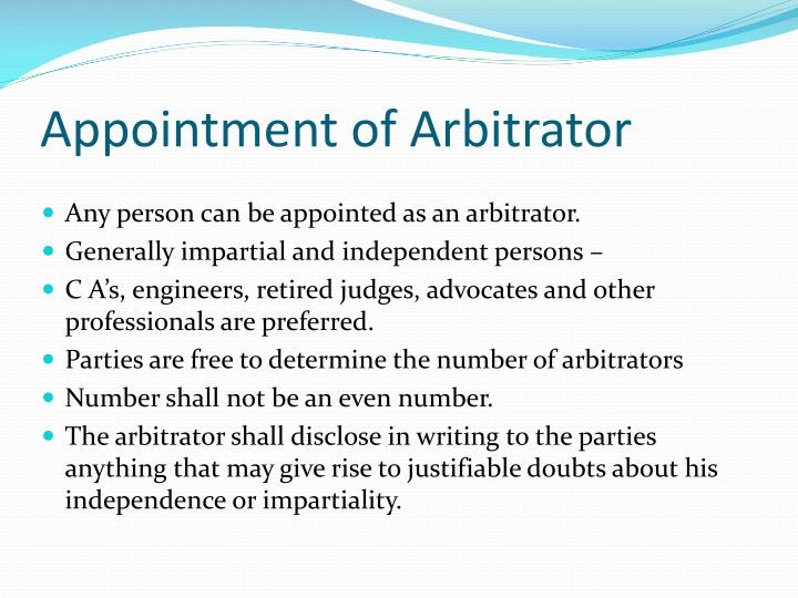 Appointment of Arbitrator