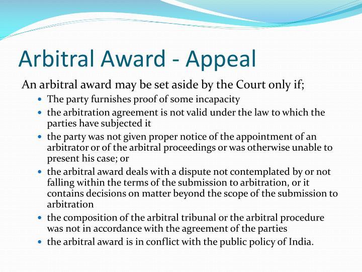 Arbitral Award - Appeal
