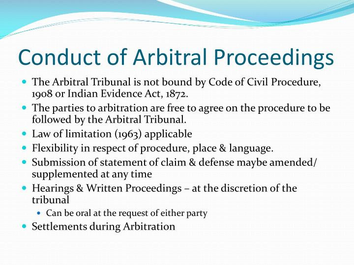 Conduct of Arbitral Proceedings