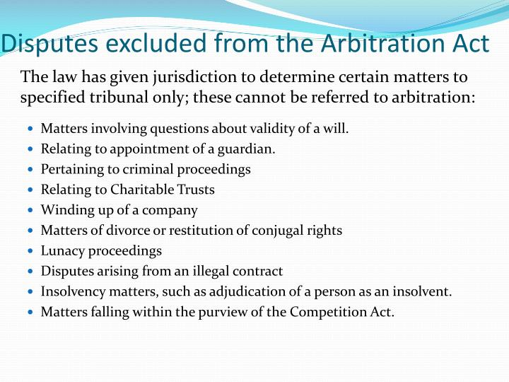 Disputes excluded from the Arbitration Act