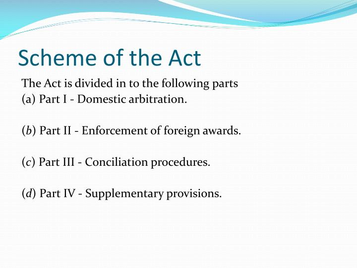 Scheme of the Act