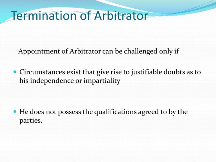 Termination of Arbitrator