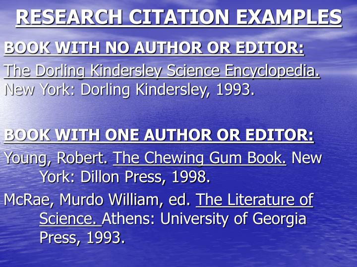 RESEARCH CITATION EXAMPLES