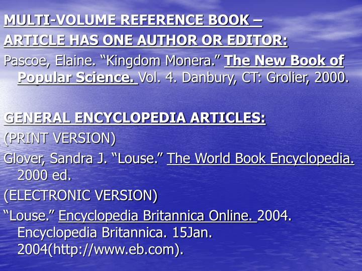 MULTI-VOLUME REFERENCE BOOK –