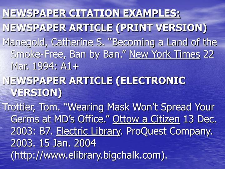 NEWSPAPER CITATION EXAMPLES: