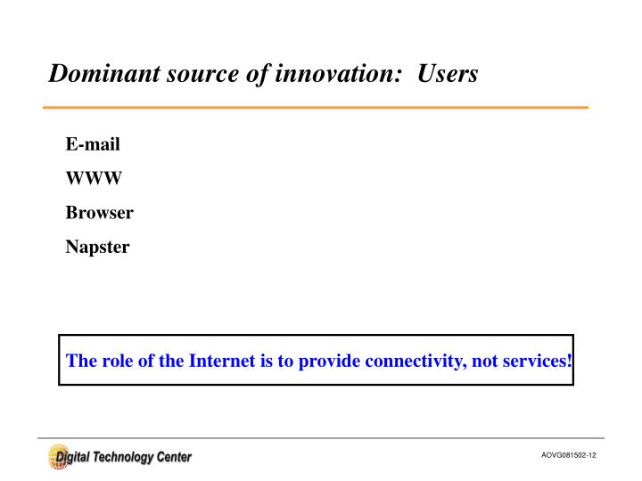 Dominant source of innovation:  Users