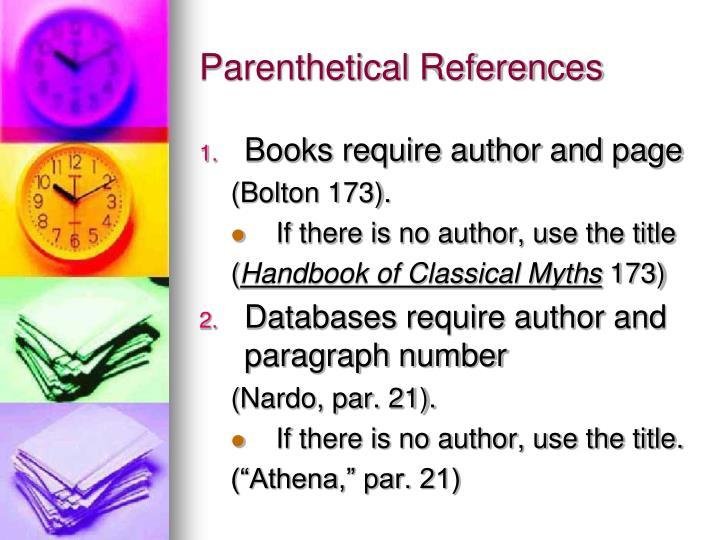Parenthetical References