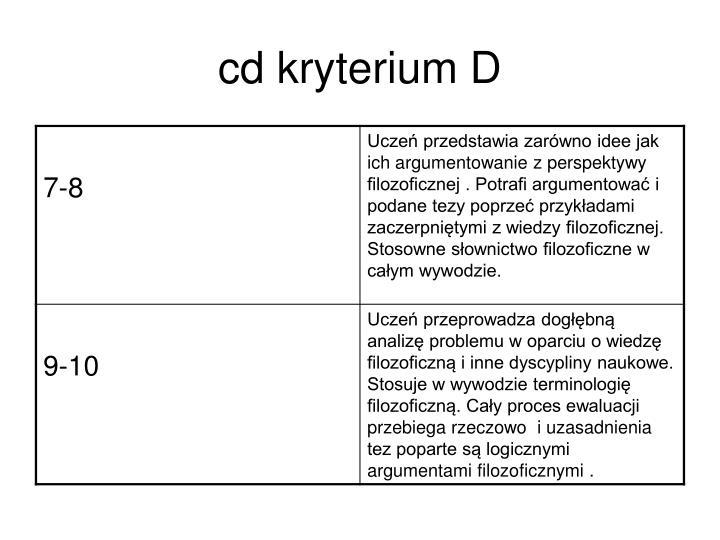 cd kryterium D