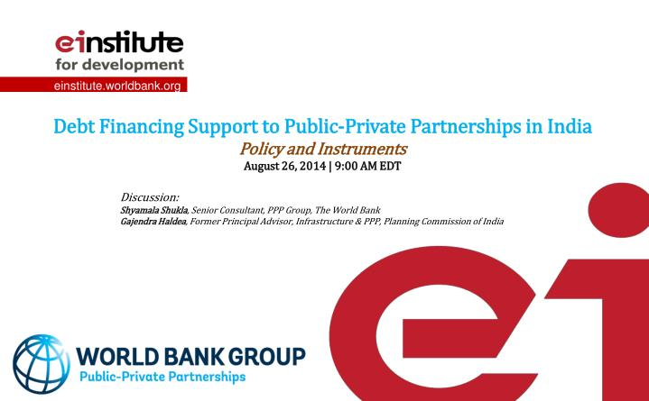 Debt Financing Support to Public-Private Partnerships in India