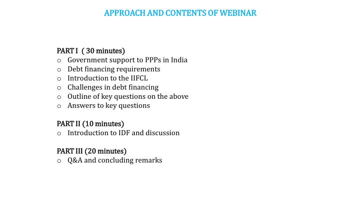 APPROACH AND CONTENTS OF WEBINAR