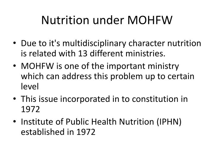 Nutrition under mohfw