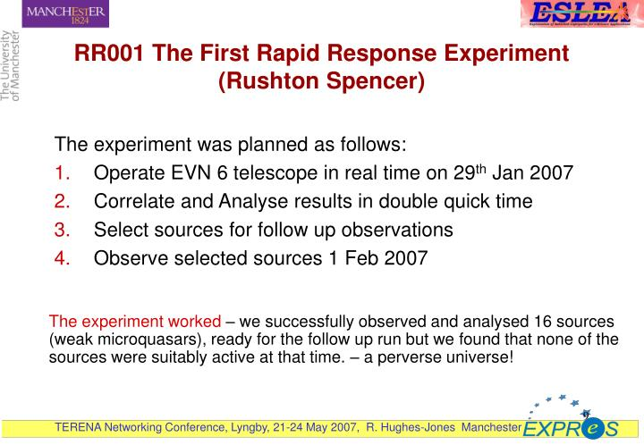 RR001 The First Rapid Response Experiment (Rushton Spencer)