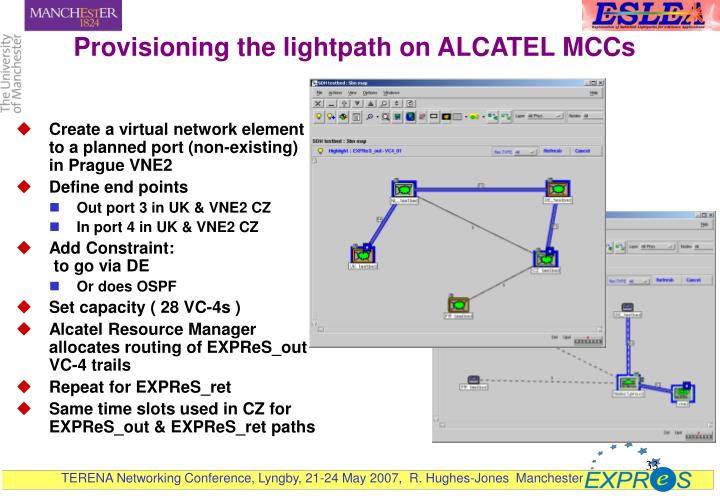 Provisioning the lightpath on ALCATEL MCCs